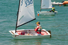 Racing on children's sailing yachts in Pomorie. Bulgaria Stock Photography