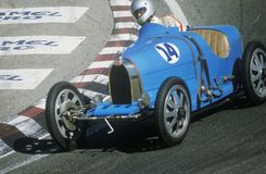 Racing a classic Bugatti sports car at the Laguna Seca Classic Car Race in Carmel, CA Stock Images