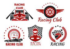 Racing club, motorsport competition icons design. Racing club and motorsport competitions symbols with open wheel racing cars, racer, protective helmet and Stock Image