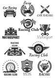 Racing club and motorsport isolated symbol set. Racing car, motorcycle, champion trophy cup, race flag, wheel, racer helmet, piston, speedometer, spark plug Stock Image