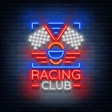 Racing Club neon logo logo. A glowing sign on the theme of the races. Neon sign, light banner. Vector illustration Stock Photography