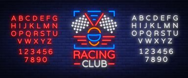 Racing Club neon logo logo. A glowing sign on the theme of the races. Neon sign, light banner. Vector illustration Stock Images
