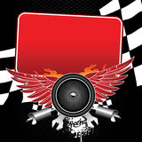 Racing competitions. Flayer for racing competitions. There are wheel with wings, flags, mufflers, wrenches and another racing attributes with place for your text Royalty Free Stock Photos