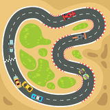 Racing computer and app game vector background with top view sport cars on race track. Racing computer and app game vector background with top view sport cars Royalty Free Stock Photo