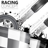 Racing. Concept - Flags, Tires and Tracks, grunge vector background Royalty Free Stock Image