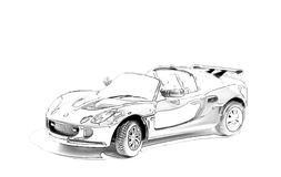 Racing convertible painted in black pencil Royalty Free Stock Photography