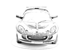 Racing convertible painted in black pencil Royalty Free Stock Photo