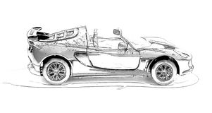 Racing convertible painted in black pencil Royalty Free Stock Images