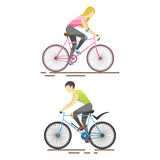 Racing cyclist in action vector illustration. Royalty Free Stock Photography
