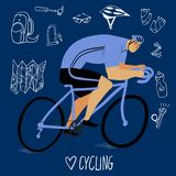 Racing cyclist with equipment. Racing cyclist in action with hand drawn bicycle equipment on dark blue background. Editable vector illustration Royalty Free Stock Images