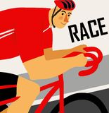 Racing cyclist poster. Racing cyclist in action. Editable vector illustration Royalty Free Stock Image