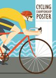Racing cyclist vitage poster Stock Images