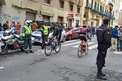 Racing Cyclists Team Sky And Team BMC Royalty Free Stock Photos