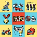 Racing Design Concept. Set with auto sport sketch decorative icons isolated vector illustration Stock Image