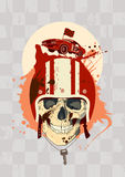 Racing design template with skull. Royalty Free Stock Photos