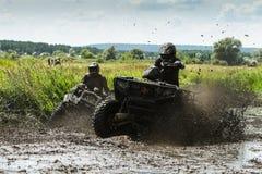 Racing on a dirt atv Stock Photos