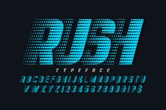 Racing display font design, alphabet, letters and numbers. Racing display font design, alphabet, typeface, letters and numbers. Swatch color control stock illustration