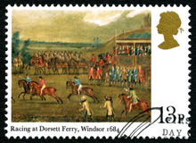 Racing at Dorsett Ferry UK Postage Stamp Royalty Free Stock Photography