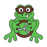 Racing driver frog. Colour line cartoon drawing of a frog in driving goggles with steering wheel Stock Photo