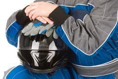 Racing driver with helmet Royalty Free Stock Image