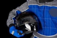 Racing driver with helmet Stock Photo