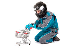 Racing driver shopping Stock Image