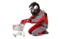 Racing driver shopping Stock Photos