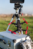 Racing drone. Detail from racing drones in the outdoor stock photography
