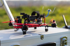 Racing drone. Detail from racing drones in the outdoor stock photos