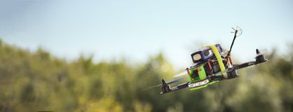 Racing drones chasing in the sky.  royalty free stock images