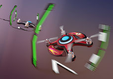 Racing drones chasing in the sky Royalty Free Stock Photo