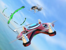 Racing drones chasing in the sky Royalty Free Stock Photos