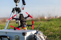 Racing drones. Detail from racing drones in the outdoor royalty free stock photos