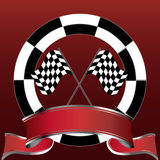 Racing emblem with checkered flags and red banner. Illustration of racing emblem with checkered flags and red banner Royalty Free Stock Photo