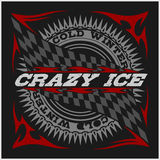Racing emblem, crossed checkered flags, wheel and text on black. Stock Photography