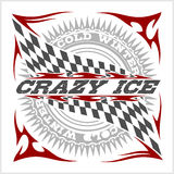 Racing emblem, crossed checkered flags, wheel and text on black. Royalty Free Stock Photo