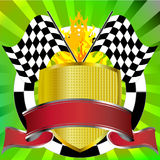 Racing emblem with flags and banner. Racing emblem in red with rally flags banner shield and green starburst stock illustration