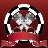Racing emblem with piston and red banner. Illustration of racing emblem with piston and red banner Stock Photo