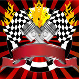 Racing emblem in red with rally flags. And banner Stock Photo