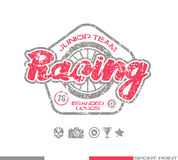 Racing emblem in retro style Royalty Free Stock Photography