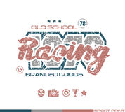 Racing emblem in retro style Stock Image