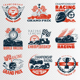 Racing Emblem Set In Color. Different shapes with descriptions championship racing racing league grand prix vector illustration Royalty Free Stock Photography