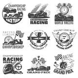 Racing Emblem Set. With descriptions of championship racing world racing grand prix vector illustration Royalty Free Stock Photography
