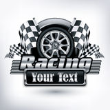 Racing emblem on white & text Stock Photo
