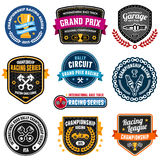 Racing emblems. Set of car racing emblems and championship badges Royalty Free Stock Photos