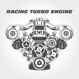 Racing engine with supercharger power - turbo Stock Photography