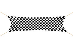Racing Finish Checkered Banner with Ropes. 3d Rendering. Racing Finish Checkered Banner with Ropes on a white background. 3d Rendering Royalty Free Stock Photography