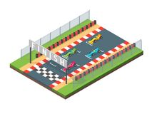 Racing Finish Line Isometric View. Vector. Racing Finish Line Isometric View Sport Competition Concept Symbol of Success Element Map for Web Design. Vector Royalty Free Stock Image