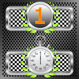 Racing first  emblem. Racing first place emblem and stopwatch Royalty Free Stock Photo
