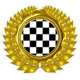 Racing flag. In a wreath Royalty Free Stock Images